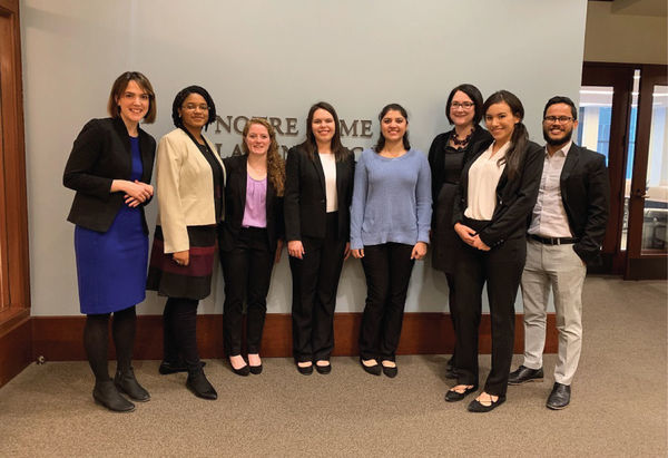 Students on the Public Interest Career Trek stopped by the Notre Dame Chicago Campus for lunch during the Trek.